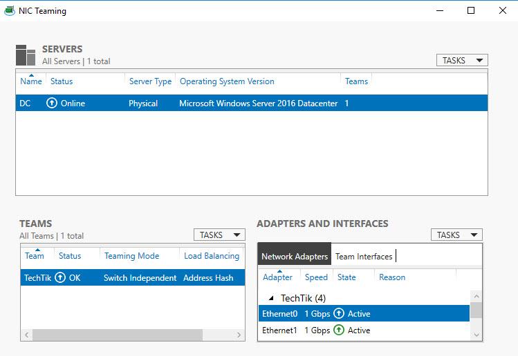 راه اندازی NIC Teaming در ویندوز سرور